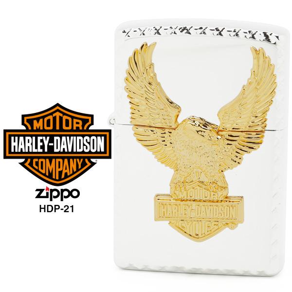 【Harley Davidson ハーレー ダビッドソン】 Zippo ハーレー ダビッドソン ジッポー ZIPPO Harley-Davidson HDP-21 シルバーミラーメッキ 特殊コーナー ゴールドメタル ライター 【お取り寄せ】【02P26Mar16】