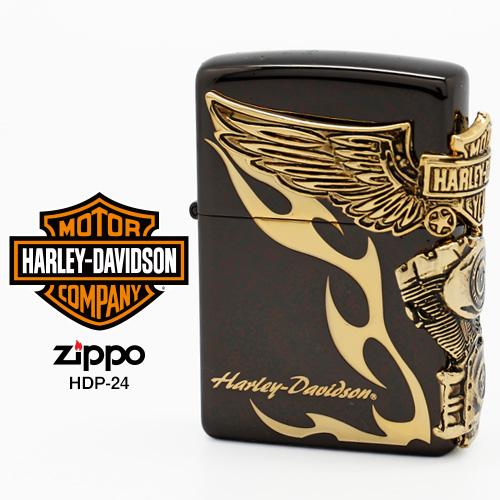 Zippo ハーレー ダビッドソン ジッポー ZIPPO Harley-Davidson HDP-24 ブラックイオン ゴールド ライター 【在庫あり】