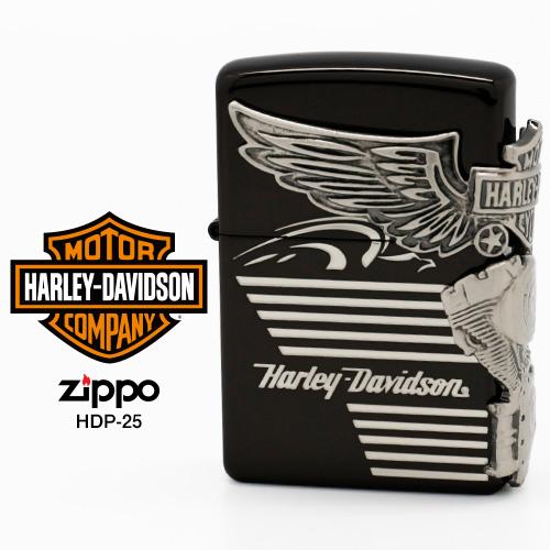 Zippo ハーレー ダビッドソン ジッポー ZIPPO Harley-Davidson HDP-25 ブラックイオン シルバー ライター 【在庫あり】【02P26Mar16】