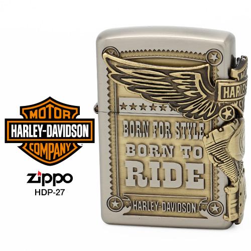 Zippo ハーレー ダビッドソン ジッポー ZIPPO Harley-Davidson HDP-27 シルバー アンティークゴールド ライター 【在庫あり】