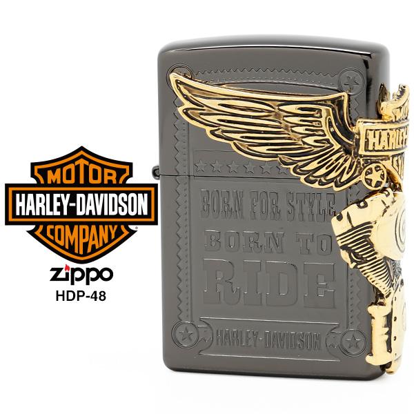 【Harley Davidson ハーレー ダビッドソン】 Zippo ハーレー ダビッドソン ジッポー ZIPPO Harley-Davidson HDP-48 チタンブラック エッチング アンティークゴールドメタル ライター 【在庫あり】