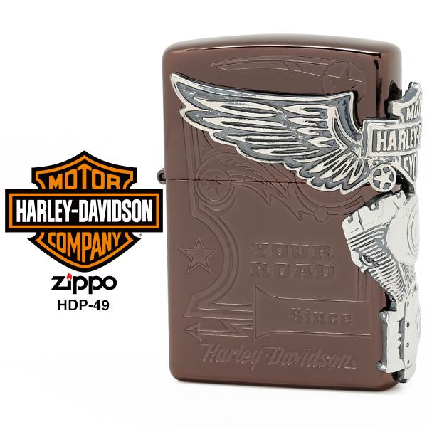 【Harley Davidson ハーレー ダビッドソン】 Zippo ハーレー ダビッドソン ジッポー ZIPPO Harley-Davidson HDP-49 チタンブラウン 両面エッチング シルバーイブシメタル ライター 【お取り寄せ】