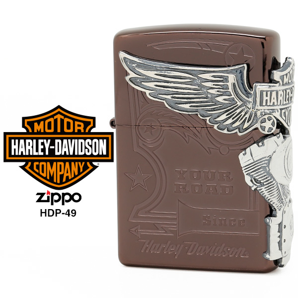 【Harley Davidson ハーレー ダビッドソン】 Zippo ハーレー ダビッドソン ジッポー ZIPPO Harley-Davidson HDP-49 チタンブラウン 両面エッチング シルバーイブシメタル ライター 【在庫あり】【あす楽】