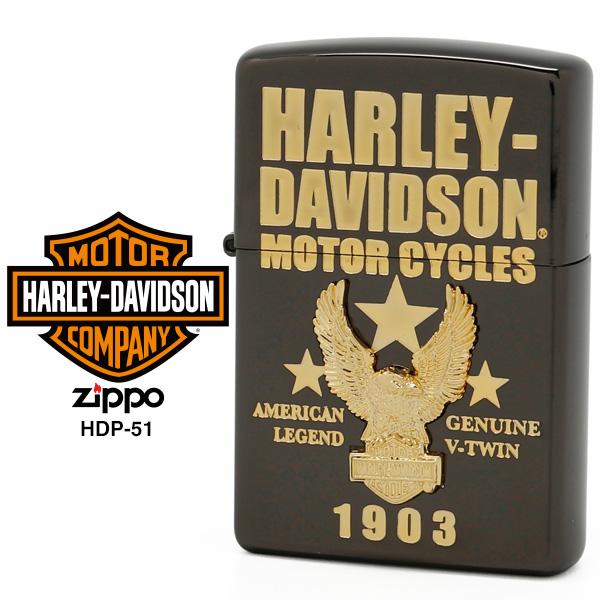 【Harley Davidson ハーレー ダビッドソン】 Zippo ハーレー ダビッドソン ジッポー ZIPPO Harley-Davidson HDP-51 ブラックイオン ゴールドメッキ ゴールドメタル ライター 【在庫あり】【02P26Mar16】