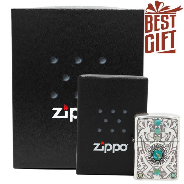【ギフトボックスセット】Zippo インディアンスピリット ジッポー ZIPPO ココペリ GiftBoxSet ターコイズ シルバー ライター 【お取り寄せ】【送料無料】【02P26Mar16】