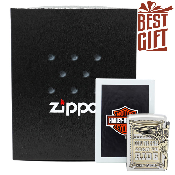 【ギフトボックスセット】Zippo ハーレー ダビッドソン ジッポー Boxset ZIPPO Harley-Davidson HDP-27 シルバー アンティークゴールド ライター 【お取り寄せ】【02P26Mar16】