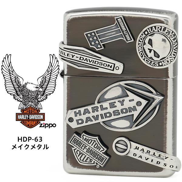 Zippo ハーレー ダビッドソン ジッポー ZIPPO Harley-Davidson HDP-63 メイクメタル ユーズドシルバーイブシ エッチング シルバーイブシメタル ライター 【在庫あり】【02P03Dec16】