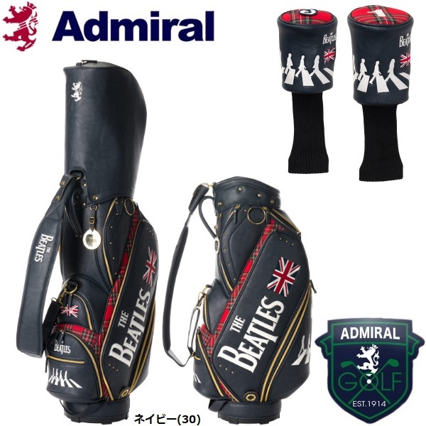 アドミラル ゴルフ THE BEATLES コラボモデル ABBEY ROAD キャディバッグ + ヘッドカバーセット ADMG7FC7 2017秋冬モデル 数量限定