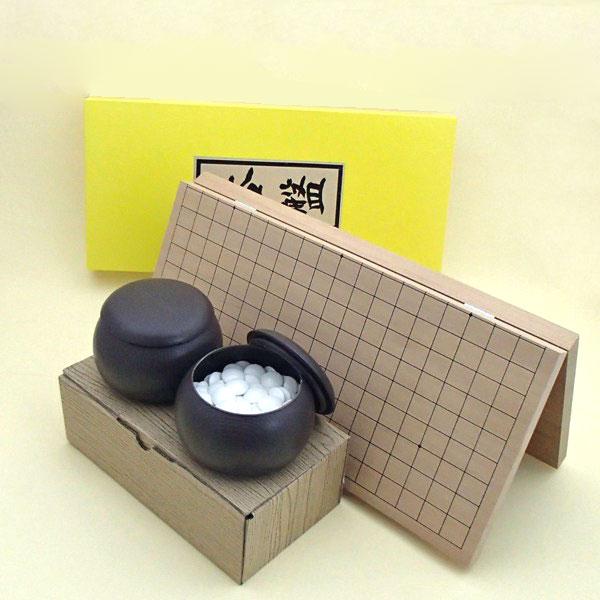 囲碁セット  新桂7号折碁盤と日向特産雪印20号蛤碁石とブロー碁笥