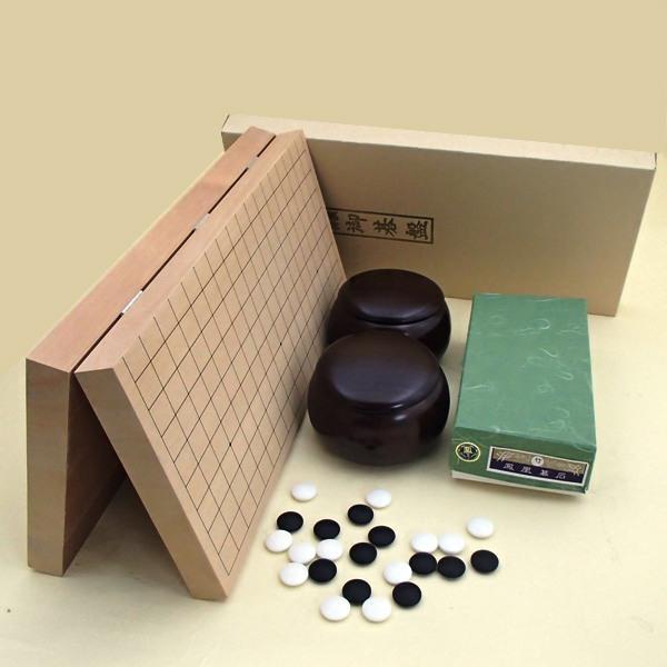 囲碁セット 新桂10号折碁盤と鳳凰青ラベル竹とP碁笥銘木大