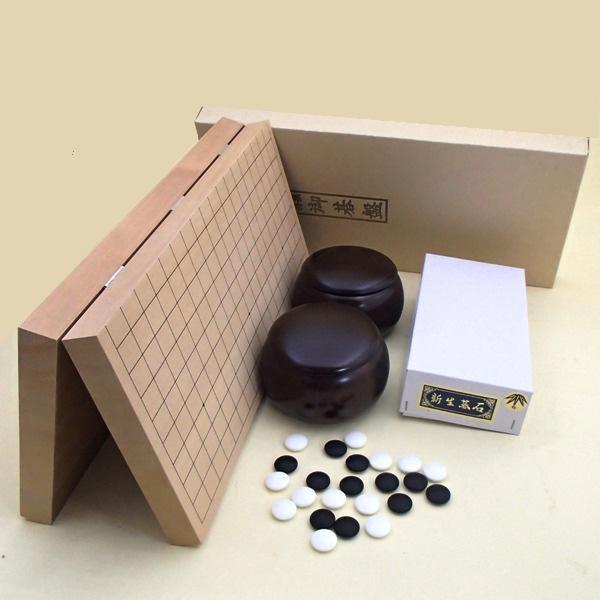 囲碁セット 新桂10号折碁盤と碁石新生竹とP碁笥銘木大