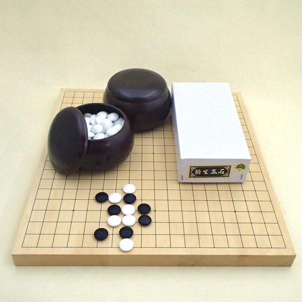囲碁セット ヒバ10号卓上接合碁盤竹と新生松碁石(約10mm)とP碁笥銘木特大