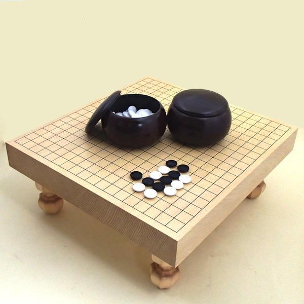 囲碁セット 新かや二寸足付接合碁盤竹と新生碁石竹とP碁笥銘木大