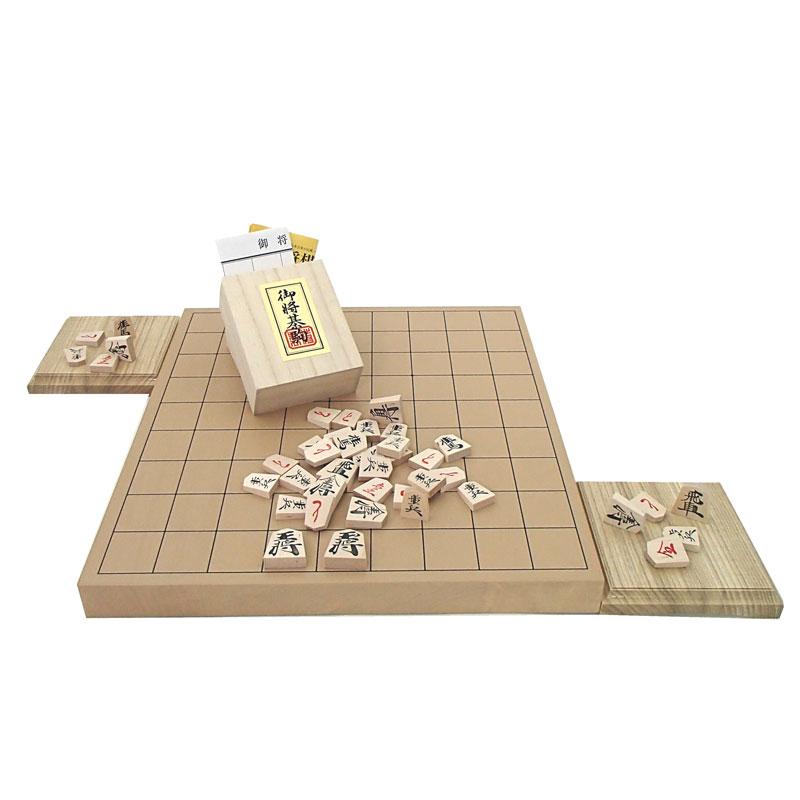 卓上将棋盤デビューにお勧め  木製将棋盤セット 人気の新桂1寸卓上接合将棋盤と木製優良押将棋駒に駒台付き