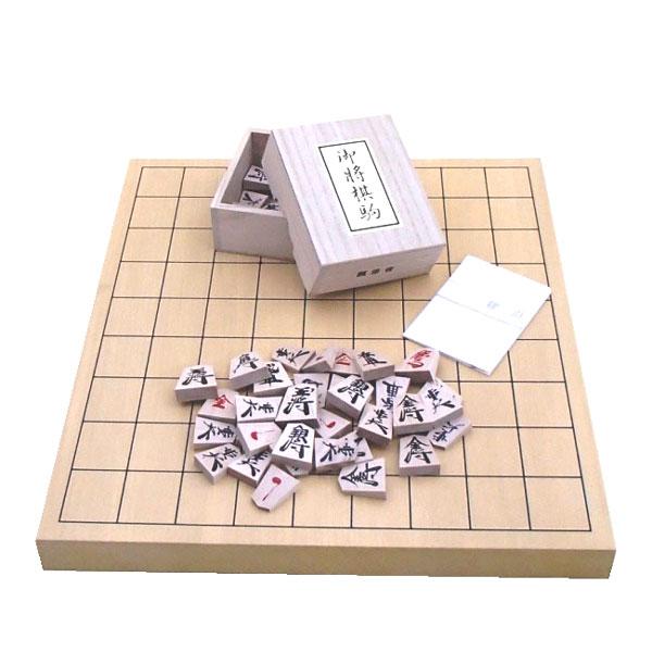 色目のやさしい将棋セット  木製将棋セット 新かや1寸卓上接合将棋盤竹と将棋駒楓漆書(裏赤)