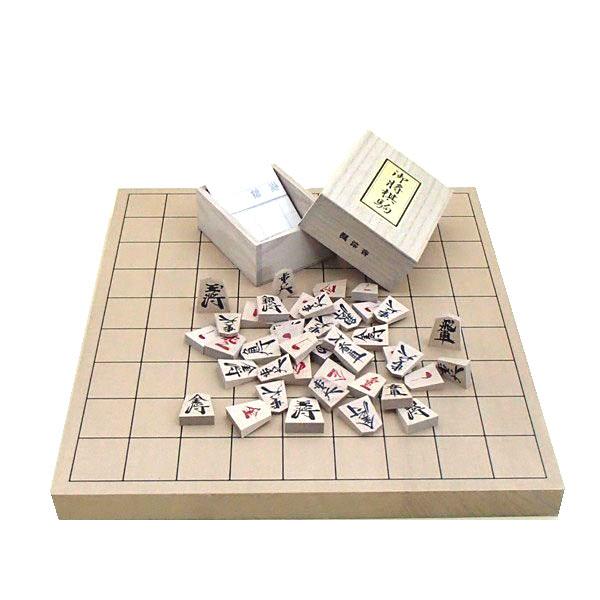お子様にもお勧め  木製将棋セット 新桂1寸卓上接合将棋盤と楓漆書き将棋駒(裏赤)