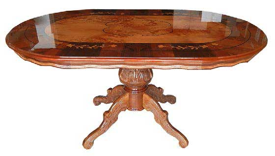 The Italian Furniture Inlay Work Dining Table 150cm Oval One Leg Tail Corporation Soundless And Stealthy Steps Antique