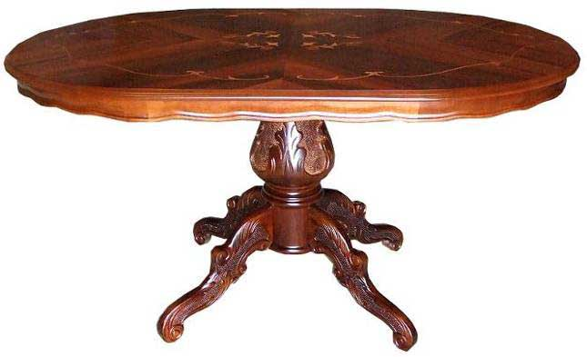 No European Furniture Made In Italy Inlaid Dining Table 140 Cm Oval One Leg  Inlaid Work