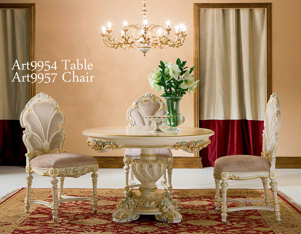Italy Luxury Furniture Silk 120 Cm Dining Table Antique Rococo
