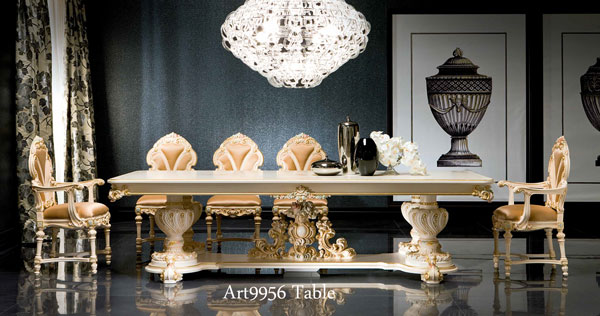 Italy Luxury Furniture Silk 300 Cm Dining Table Antique Italy Rococo  Furniture