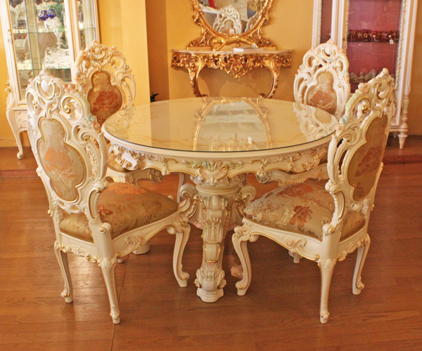 European Home Furniture Made In Italy Silik Silk Dining Set 130 Mm Table