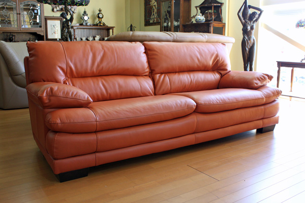 Leather 2 5 P Sofa Tangerine Htl 9814