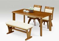 ダイニングセット ダイニングテーブル4人用,食卓セット 座面回転チェア ベンチシート,幅135cm × 奥行80cm