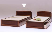 たたみベッド 収納引出し付畳ベッド セミダブルベッド,人気のたたみベッド 落ち着いたシンプルデザイン,パネル型2分割 キャスター付収納引出し