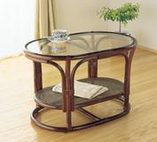 籐製センターテーブル ガラステーブル ラウンドテーブル,リビングテーブル サイドテーブル フラワーテーブル,5mm強化ガラス天板 収納棚付