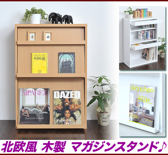 Wooden Magazine Rack Stand Scandinavian Fashion Slim Book Bookshelf Storage Shelf Flat Screen Door White Natural Flap Doors