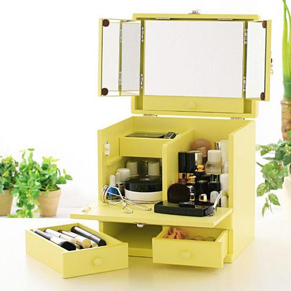 コスメボックス 三面鏡 メイクボックス,化粧ボックス メイク コスメボックス バニティー,パステルカラー クリーミーイエロー