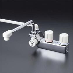 KVK 水栓金具デッキ形一時止水付2ハンドルシャワー【KF207RR3】