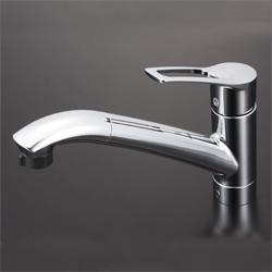 KVK 水栓金具シングルレバー式シャワー付混合栓(シャワー引出し式)【KM5031JT】