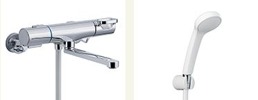 ▽INAX 取替用水栓【BF-WM145TNSG】クロマーレS サーモスタット付 シャワーバス水栓 寒冷地 整流 吐水口長さ(自在170mm)