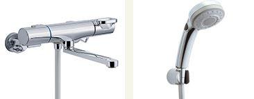 ▽INAX 取替用水栓【BF-WM145TSBW】クロマーレS サーモスタット付 シャワーバス水栓 一般地 整流 吐水口長さ(自在170mm)