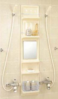 ###INAX/LIXIL 浴室収納棚【YR-316G/L11】ミスティアイボリー 鏡付(平付) 落下防止バー 収納カゴ付 受注約3週