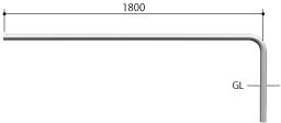 ####u.サンポール/SUNPOLE【AA-42UJ20-E】自転車アーチ ステンレス製 φ42.7 ジョイント式 エンド支柱 固定式 受注約3週