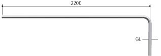 ####u.サンポール/SUNPOLE【AA-42UJ24-E】自転車アーチ ステンレス製 φ42.7 ジョイント式 エンド支柱 固定式 受注約3週