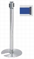 ####u.サンポール/SUNPOLE【BR-281MC(BU)】屋内型ベルトリール ブルー φ60.5 H877 ヘッド回転タイプ・スタッキング式 移動式 受注約3週