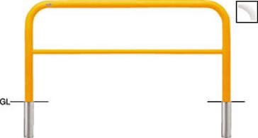 ####u.サンポール/SUNPOLE【FAH-7S15-800(Y)】アーチ 黄 スチール製 φ60.5 W1500 H800 差込式