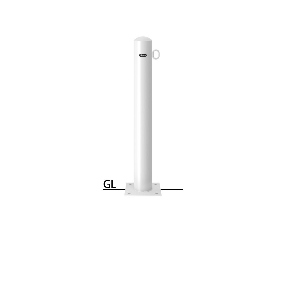 ####u.サンポール/SUNPOLE【FPA-11B-F01(W)】ピラー 白 スチール製 φ101.6 H850 ベース式 片フック 受注約3週