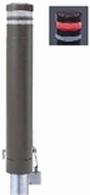 ####u.サンポール/SUNPOLE【RB-132SK-SOL(CR)】リサイクルボラード ダークブラウン 標準塗装 自発光LED付(レッド) 点滅式 差込式カギ付 受注約3週