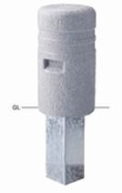 ####u.サンポール/SUNPOLE【RP-501S(N)】擬石リサイクルプラスチックボラード 擬石風 φ250 H450 差込式 受注約3週
