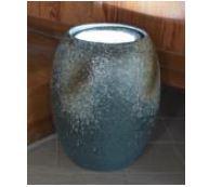 ###£三栄水栓/SANEI【EW21-3】インテリアLED水琴窟(屋内用) 柄名:青古信楽 受注生産