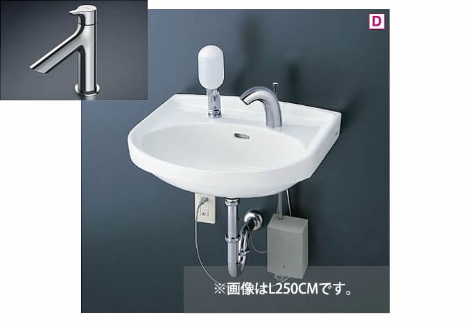 ###TOTO 壁掛洗面器 セット品番【L250C+TLS01101J】立水栓 床排水金具(Sトラップ)