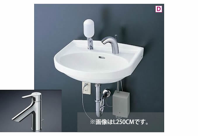 ###TOTO 壁掛洗面器 セット品番【L250C+TLS01302JA】台付シングル混合水栓(エコシングル) 床排水金具(Sトラップ)
