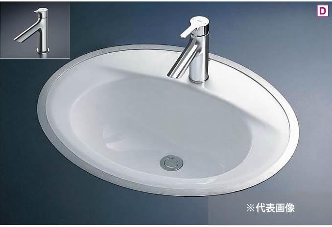 ###TOTO カウンター式洗面器 セット品番【L525RCU+TLS01101J】フレーム式 立水栓 壁排水金具(Pトラップ)