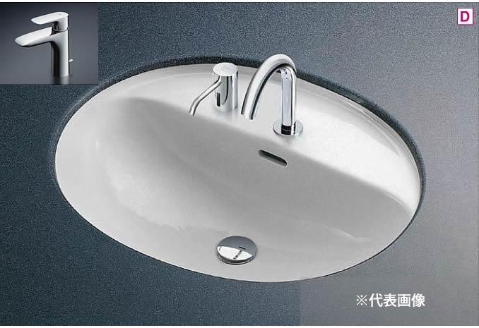 ###TOTO カウンター式洗面器 セット品番【L582CS+TLG04302JA】アンダーカウンター式 台付シングル混合水栓(エコシングル) 壁排水金具(Pトラップ)