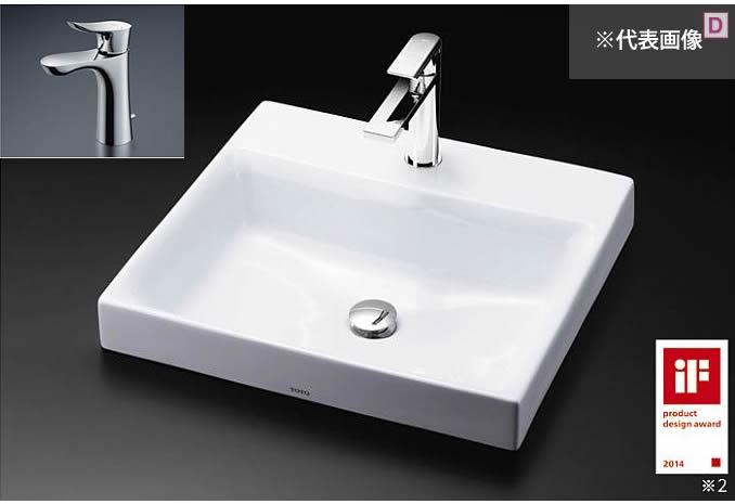 ###TOTO カウンター式洗面器 セット品番【LS717C #NW1+TLG01302JA】ホワイト ベッセル式 台付シングル混合水栓(エコシングル) 壁排水金具(Pトラップ)