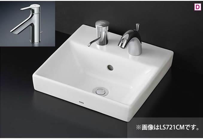 ###TOTO カウンター式洗面器 セット品番【LS721C #NW1+TLS01302JA】ホワイト ベッセル式 台付シングル混合水栓(エコシングル) 壁排水金具(Pトラップ)